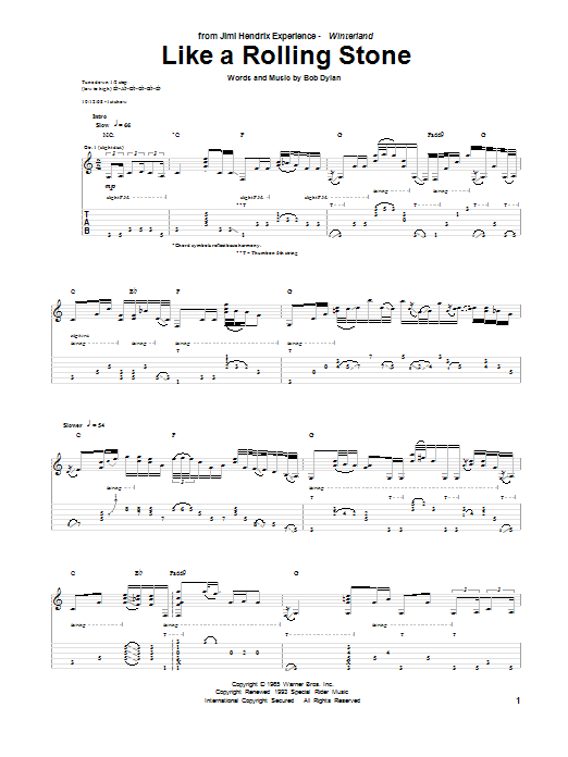 Tablature guitare Like A Rolling Stone de Jimi Hendrix - Tablature Guitare
