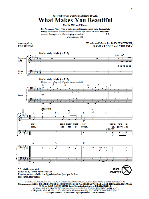 Partition chorale What Makes You Beautiful de One Direction - SATB