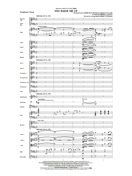 You Raise Me Up (complete set of parts) sheet music for orchestra/band by Joseph M. Martin, Brendan Graham, Josh Groban and Rolf Lovland. Score Image Preview.