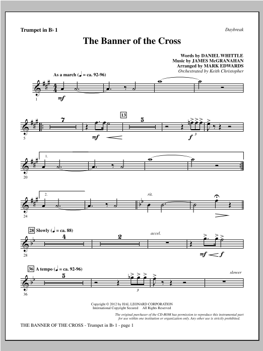 The Banner Of The Cross - Bb Trumpet 1 Sheet Music
