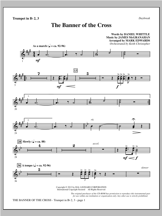 The Banner Of The Cross - Bb Trumpet 2,3 Sheet Music