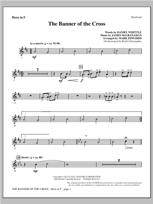 The Banner Of The Cross - F Horn Sheet Music