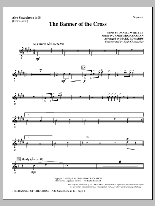 The Banner Of The Cross - Alto Sax (sub. Horn) Sheet Music