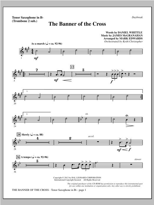 The Banner Of The Cross - Tenor Sax (sub. Tbn 2) Sheet Music