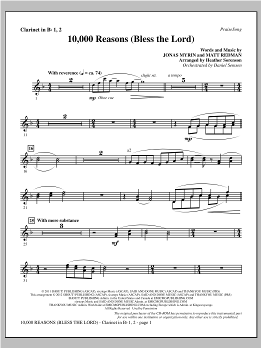 10,000 Reasons (Bless The Lord) - Bb Clarinet 1 & 2 Sheet Music