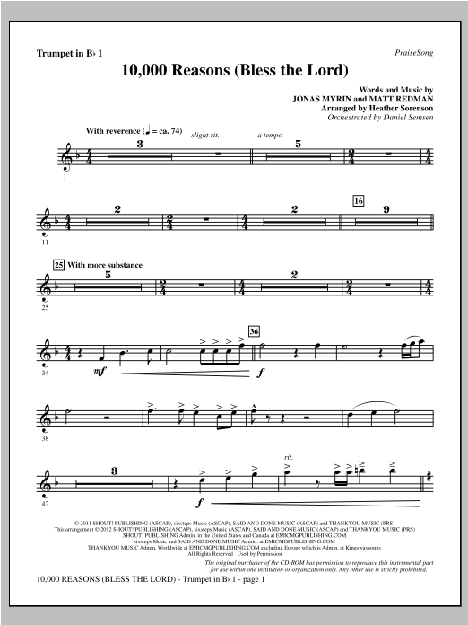 10,000 Reasons (Bless The Lord) - Bb Trumpet 1 Sheet Music