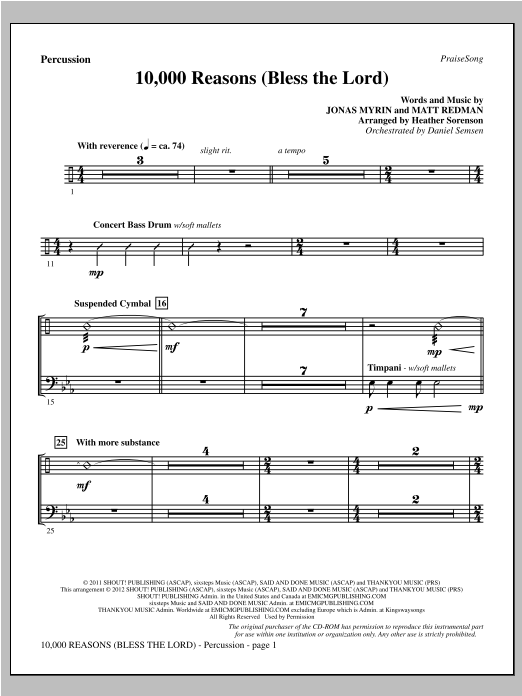 10,000 Reasons (Bless The Lord) - Percussion Sheet Music