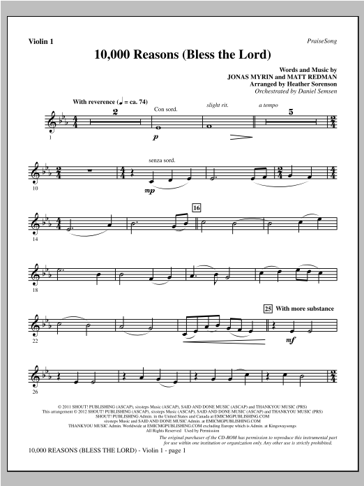 10,000 Reasons (Bless The Lord) - Violin 1 Sheet Music