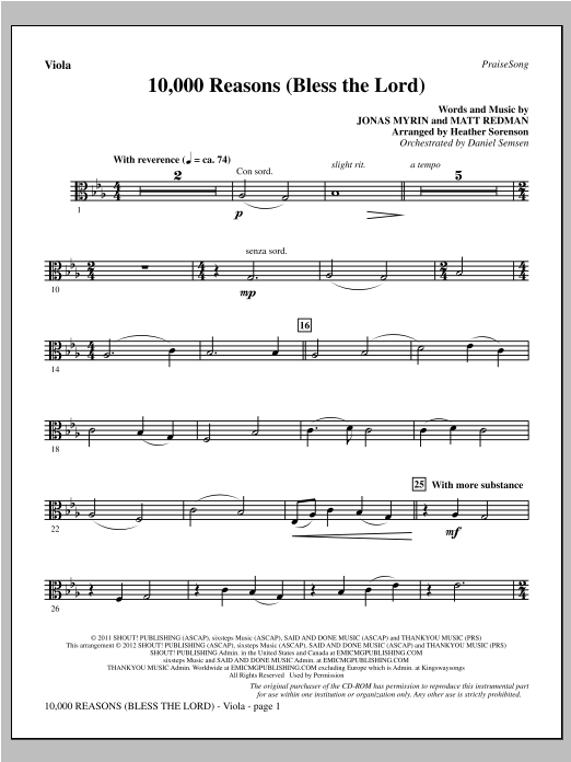 10,000 Reasons (Bless The Lord) - Viola Sheet Music