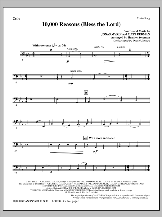 10,000 Reasons (Bless The Lord) - Cello - Sheet Music to Download