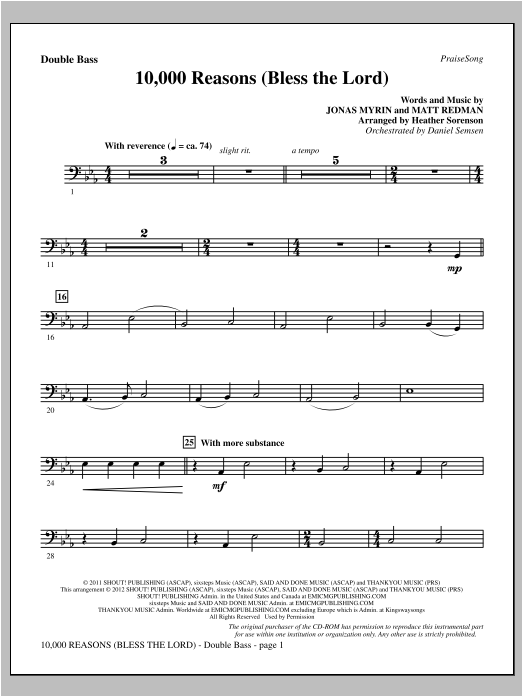 10,000 Reasons (Bless The Lord) - Double Bass Sheet Music