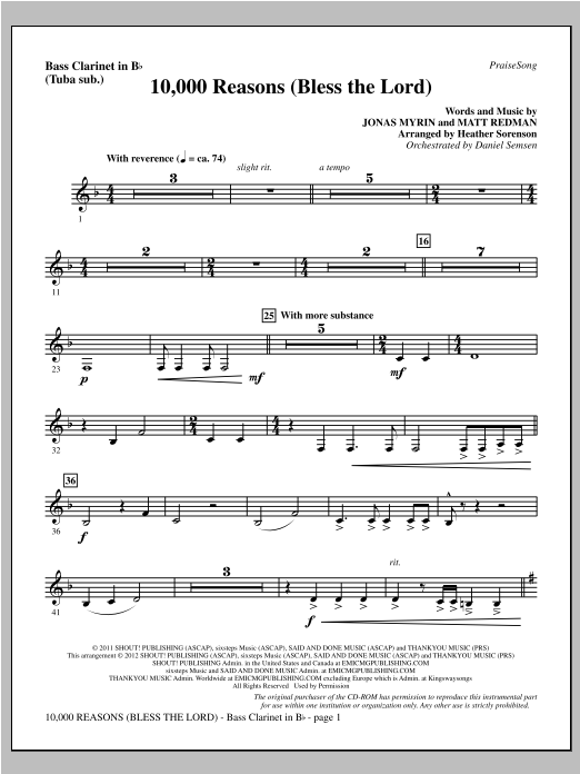 10,000 Reasons (Bless The Lord) - Bass Clarinet (sub. Tuba) Sheet Music