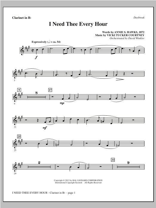 I Need Thee Every Hour - Bb Clarinet Sheet Music