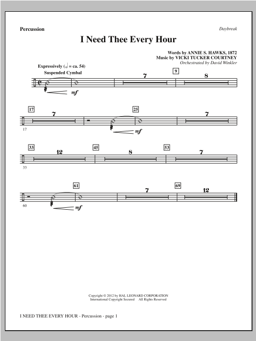 I Need Thee Every Hour - Percussion Sheet Music