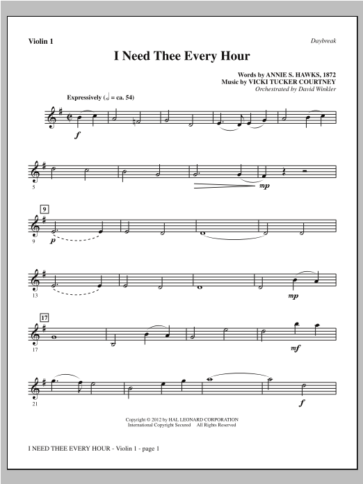 I Need Thee Every Hour - Violin 1 Sheet Music