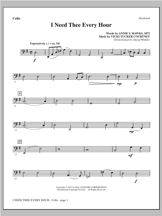 I Need Thee Every Hour Cello Sheet Music Direct