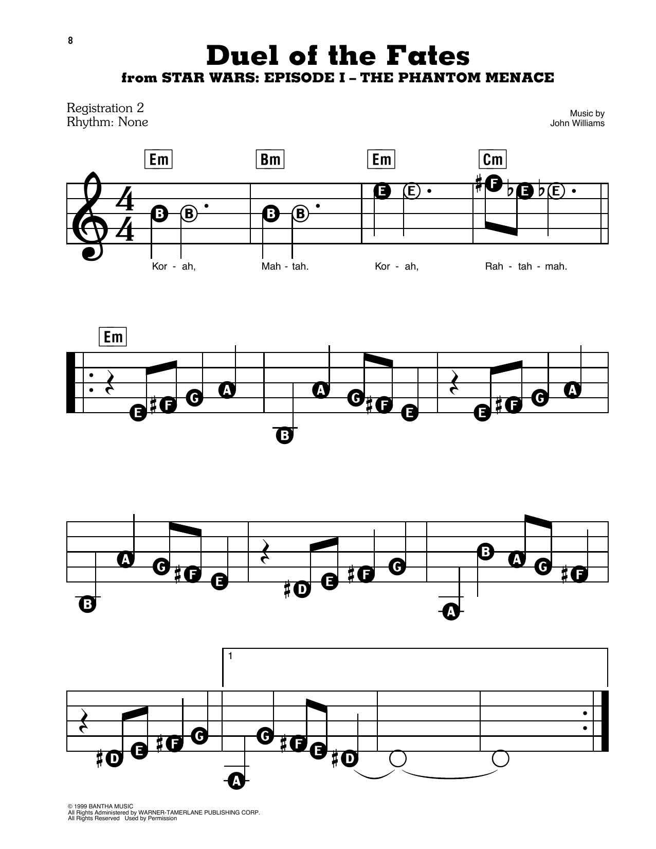 Duel Of The Fates (from Star Wars: The Phantom Menace) Sheet Music