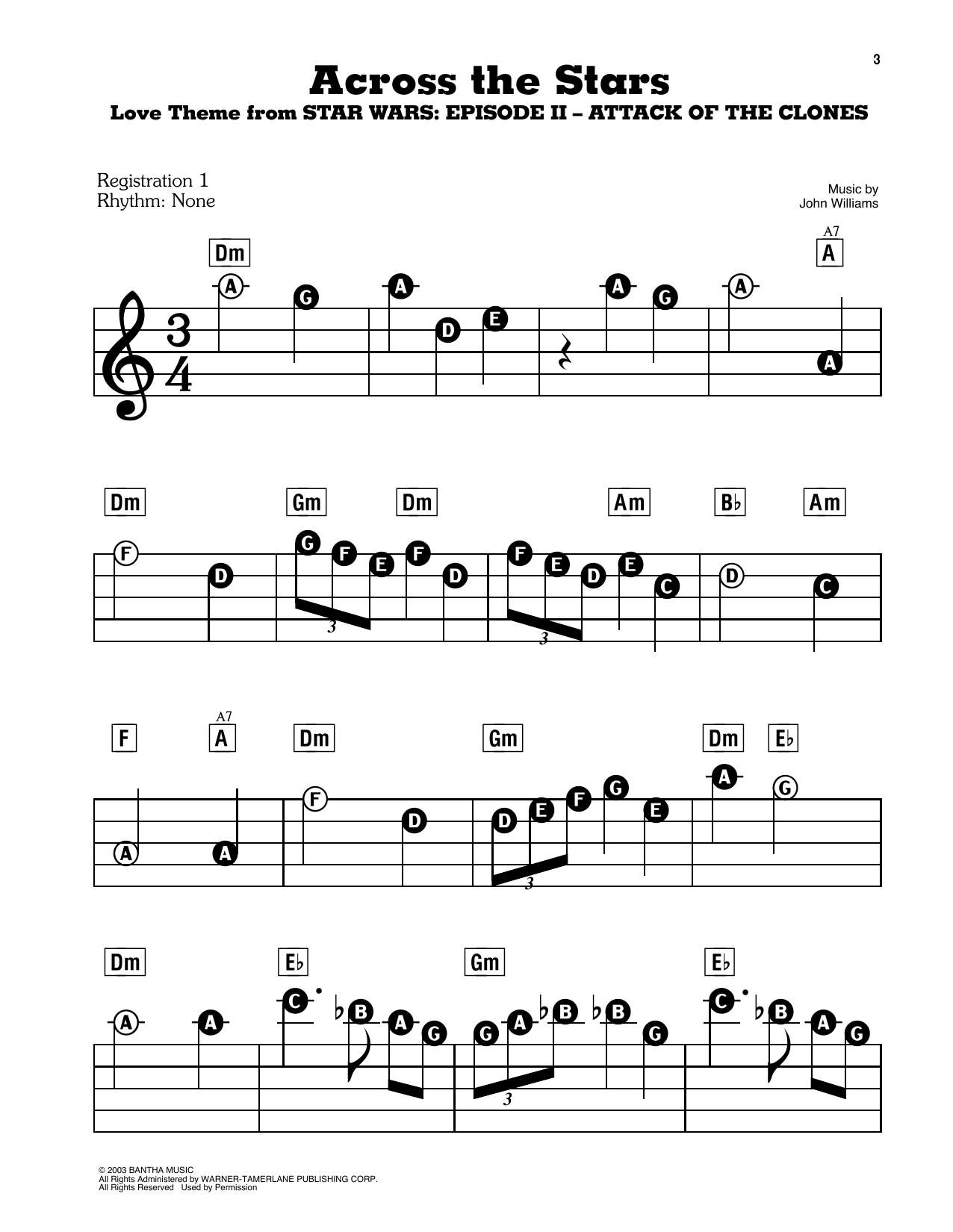 Across The Stars (Love Theme from Star Wars: Attack of the Clones) Sheet Music