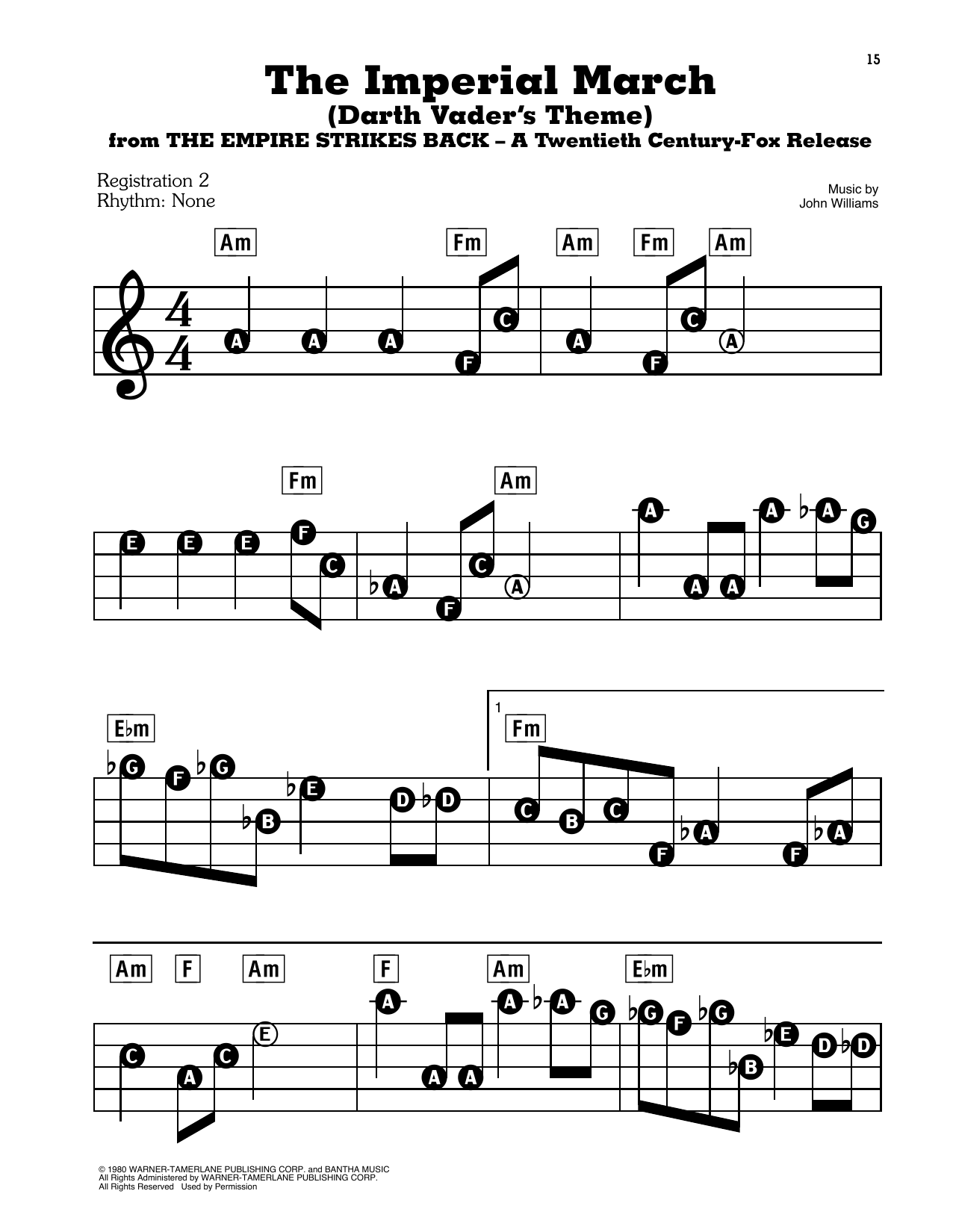 The Imperial March (Darth Vader's Theme) (from Star Wars: The Empire Strikes Back) Sheet Music