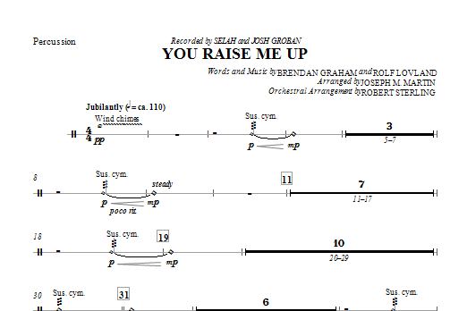 You Raise Me Up - Percussion Sheet Music
