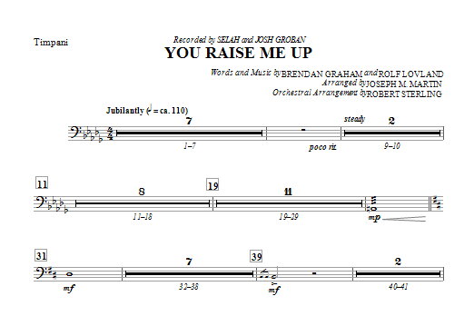 You Raise Me Up - Timpani Sheet Music