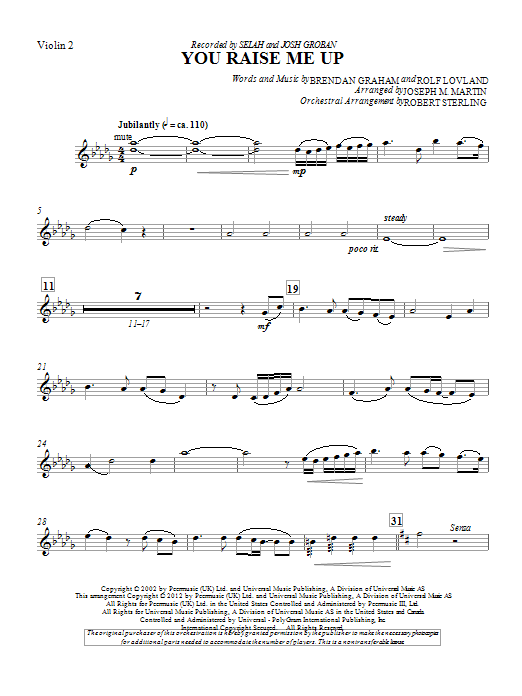 You Raise Me Up Violin 2 By Joseph Martin Choir Instrumental Pak Digital Sheet Music