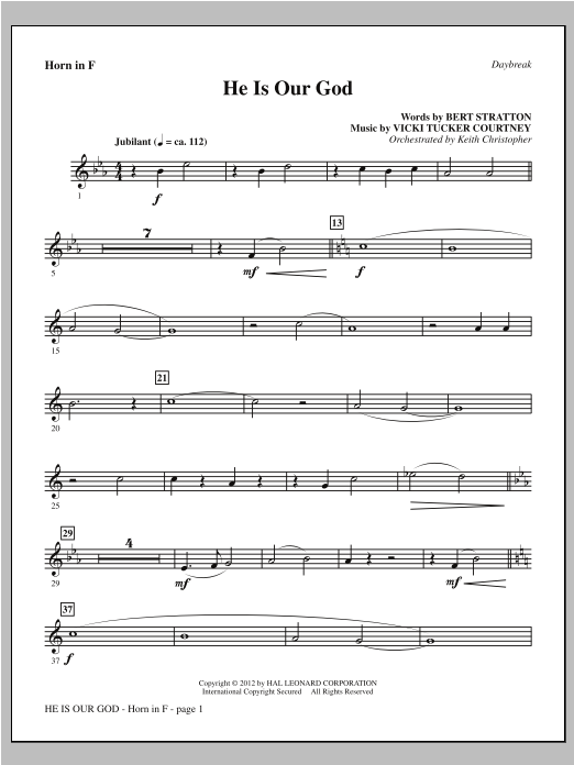 He Is Our God - F Horn Sheet Music