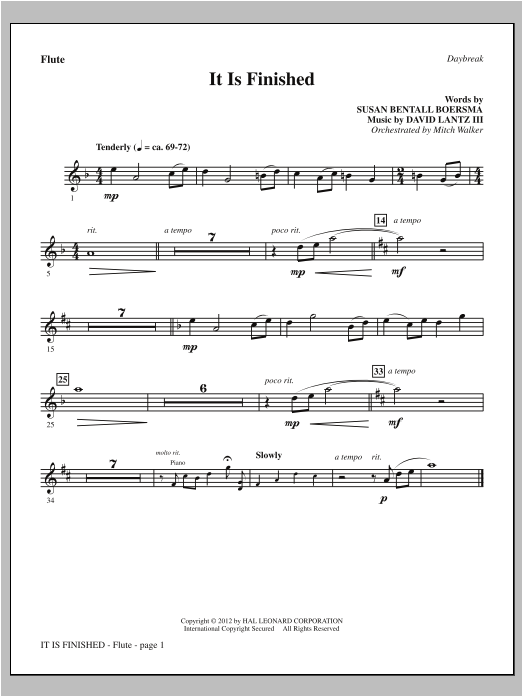 It Is Finished - Flute Sheet Music