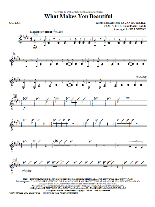 What Makes You Beautiful - Guitar Sheet Music