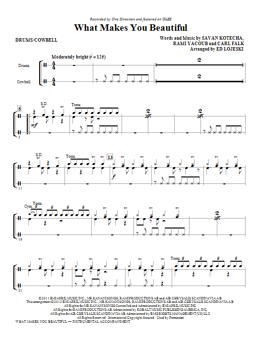 What Makes You Beautiful - Drums Sheet Music