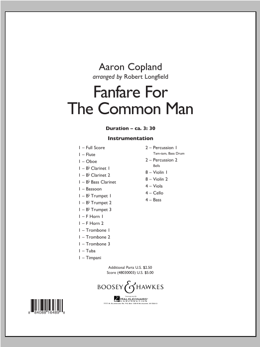 Fanfare For The Common Man - Conductor Score (Full Score) Sheet Music