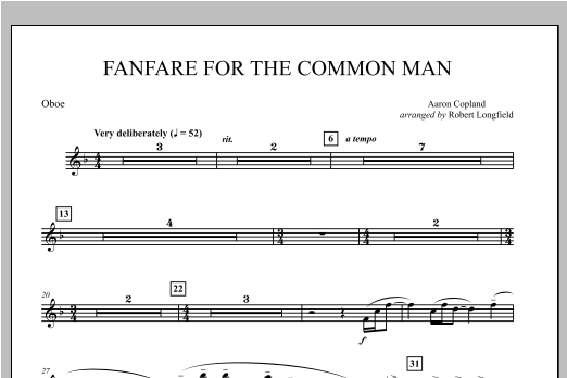 Fanfare For The Common Man - Oboe Sheet Music