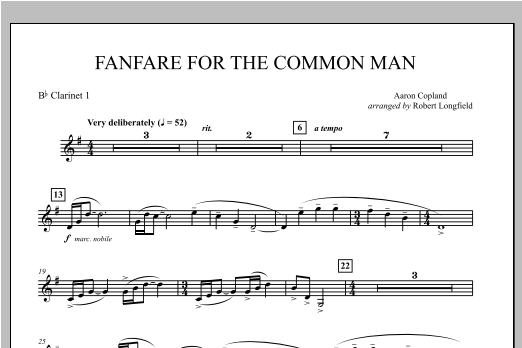 Fanfare For The Common Man - Bb Clarinet 1 Sheet Music