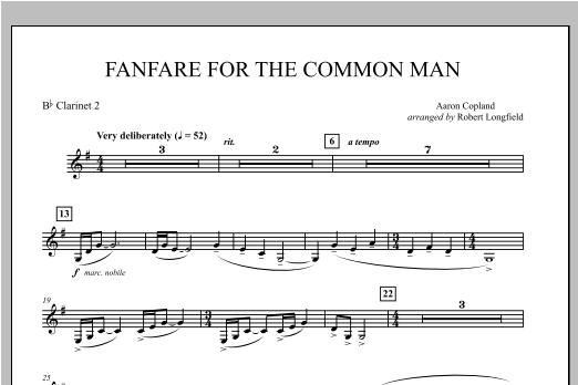 Fanfare For The Common Man - Bb Clarinet 2 Sheet Music