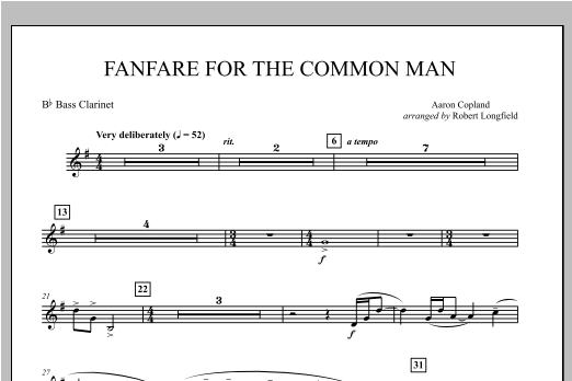 Fanfare For The Common Man - Bb Bass Clarinet Sheet Music