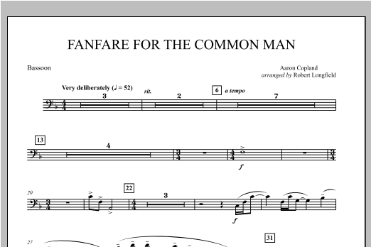 Fanfare For The Common Man - Bassoon Sheet Music