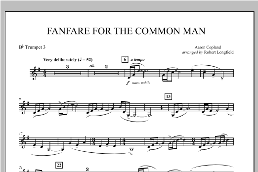 Fanfare For The Common Man - Bb Trumpet 3 Sheet Music