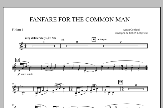 Fanfare For The Common Man - F Horn 1 Sheet Music