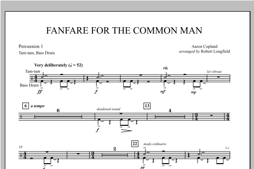 Fanfare For The Common Man - Percussion 1 Sheet Music
