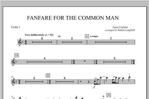 Fanfare For The Common Man - Violin 1 Sheet Music