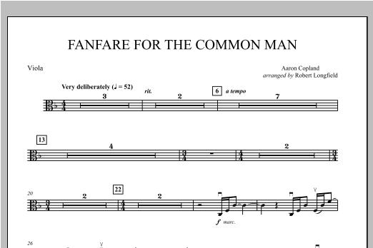 Fanfare For The Common Man - Viola Sheet Music