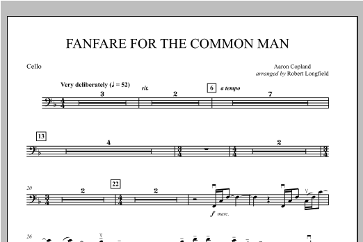 Fanfare For The Common Man - Cello Sheet Music