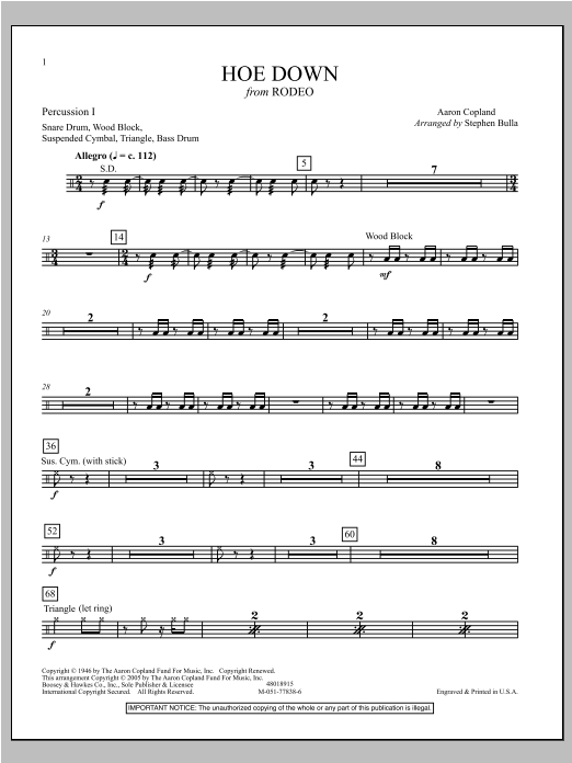 Hoe Down - Percussion 1 Sheet Music