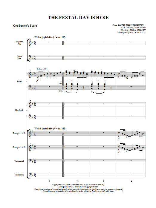 The Festal Day Is Here - Score Sheet Music