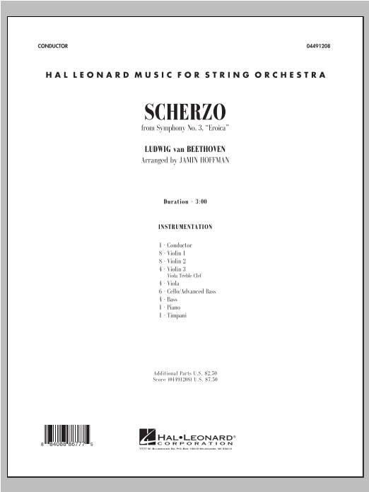 Scherzo from Symphony No. 3 (Eroica) (COMPLETE) sheet music for orchestra by Jamin Hoffman and Ludwig van Beethoven. Score Image Preview.