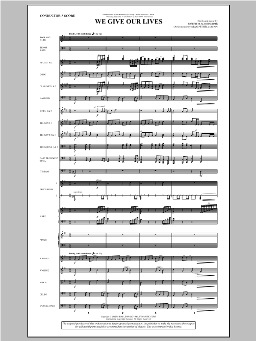 We Give Our Lives (complete set of parts) sheet music for orchestra/band (Orchestra) by Joseph Martin and Joseph M. Martin. Score Image Preview.