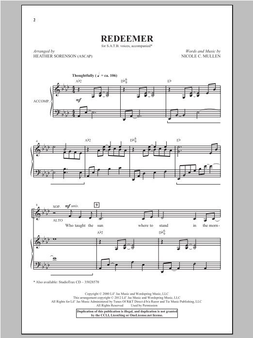 Redeemer Sheet Music