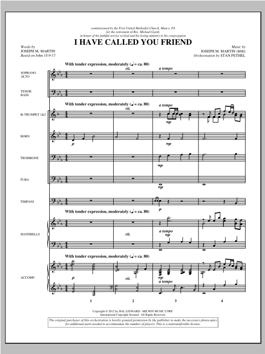 I Have Called You Friend (complete set of parts) sheet music for orchestra/band (Brass/Percussion) by Joseph M. Martin. Score Image Preview.