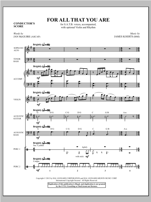 For All That You Are (complete set of parts) sheet music for orchestra/band (Instrumental Parts) by James Koerts and Jan McGuire. Score Image Preview.