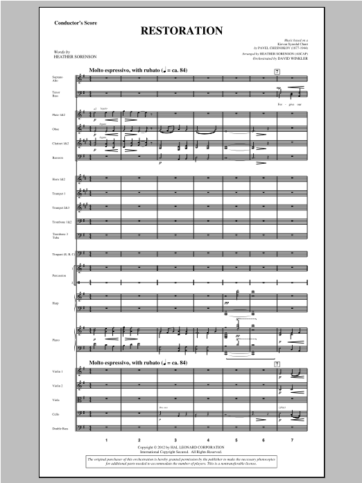 Restoration (complete set of parts) sheet music for orchestra/band (Orchestra) by Pavel Chesnokov and Heather Sorenson. Score Image Preview.